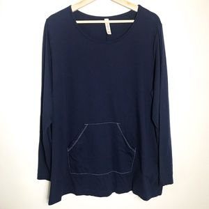 Cacique Navy Long Sleeve Plus Size Top 18/…